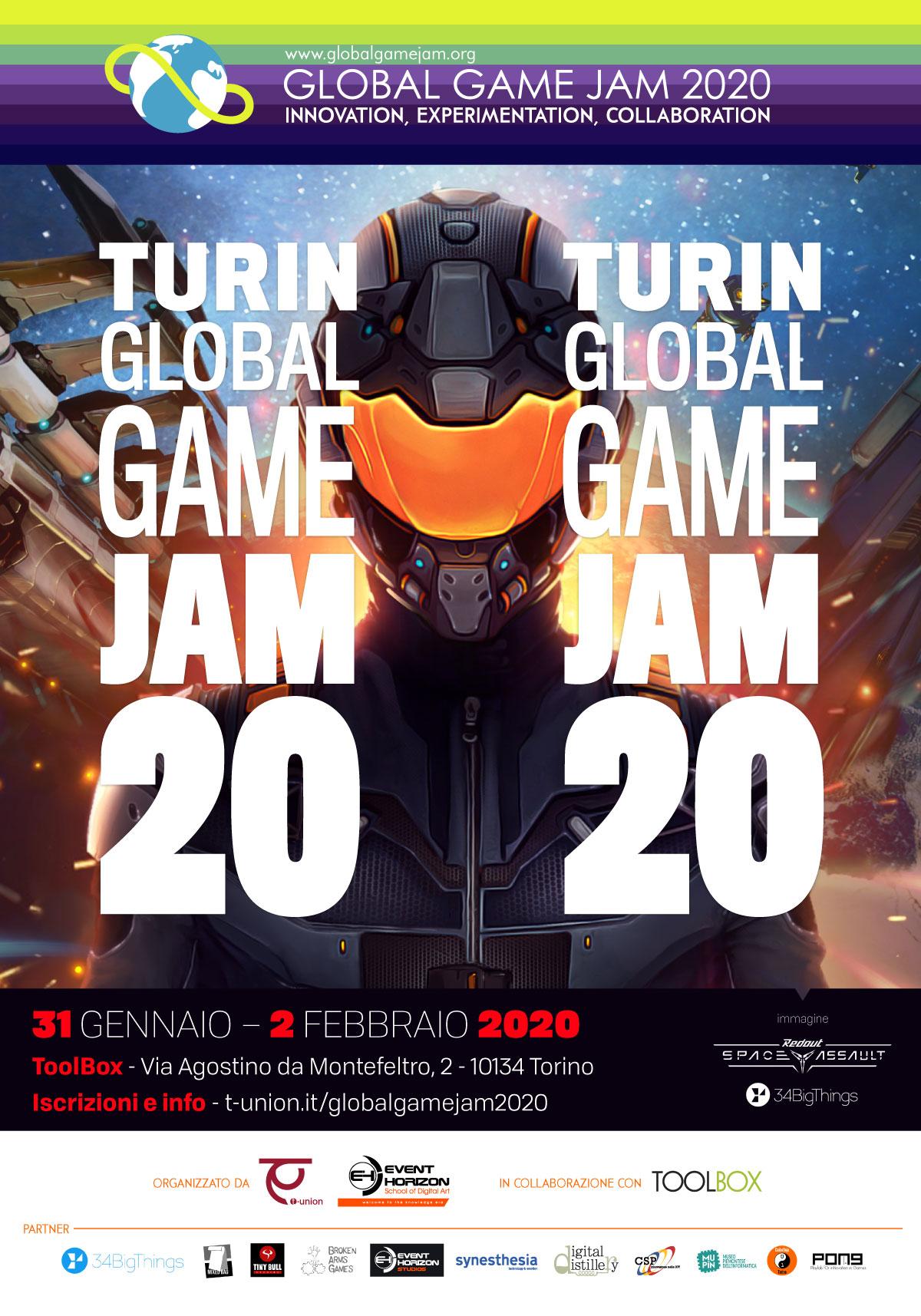 Locandina dell'edizione 2020 della GLobal Game Jam a Torino